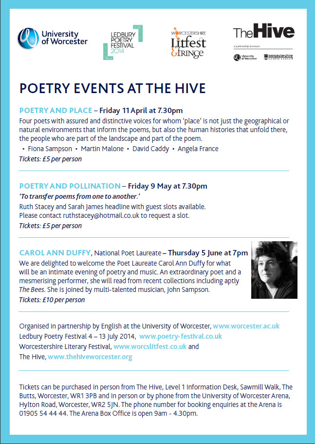 ...this Friday evening, poetry at the HIve